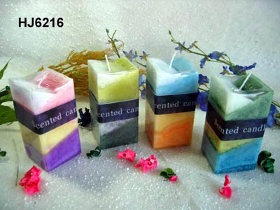 Scented snow-inside candles